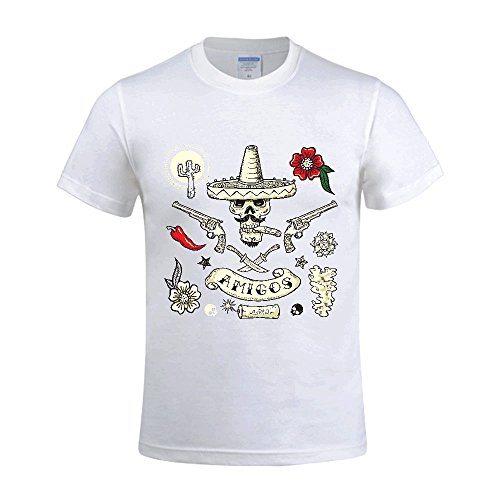 0c71875c3bf33 Jstmon Mexican Tattoo Art Style Design Men s Short Sleeve Crew Neck T-Shirt