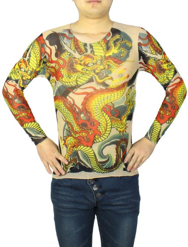 Men tattoo clothing long sleeve stretchy slim t shirt red for Tattoo shirts long sleeve